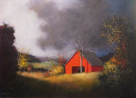 Red barn sunset painting