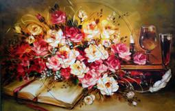 Artwork, still life ( oil, stretched convas, flowers)