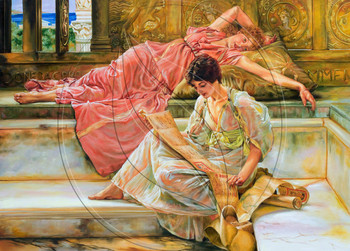 The Favorite Poet by Sir Lawrence Alma-Tadema. Copy painting.