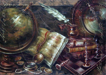 Still life with globe and clocks