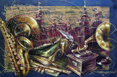 Still life of musical instruments against the background of the city