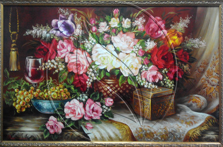 """""""Wine with flowers"""" Still life painting"""