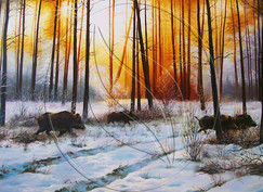 """""""Wild boar in the forest"""" Painting copy"""