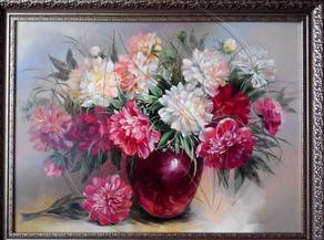 """Patio Peony Rome"" Still Life Painting"