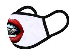 "White Face Mask ""Diamond lips"""