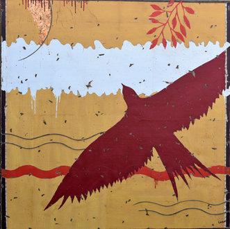 L'oiseau rouge - 100X100