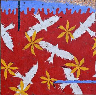 Les oiseaux blancs - 80X80cms