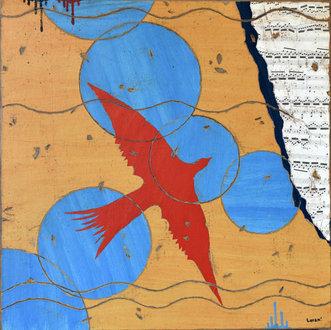 Et soudain, surgit un oiseau rouge - 60X60