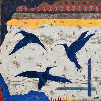 Trois colibris bleus - 60X60