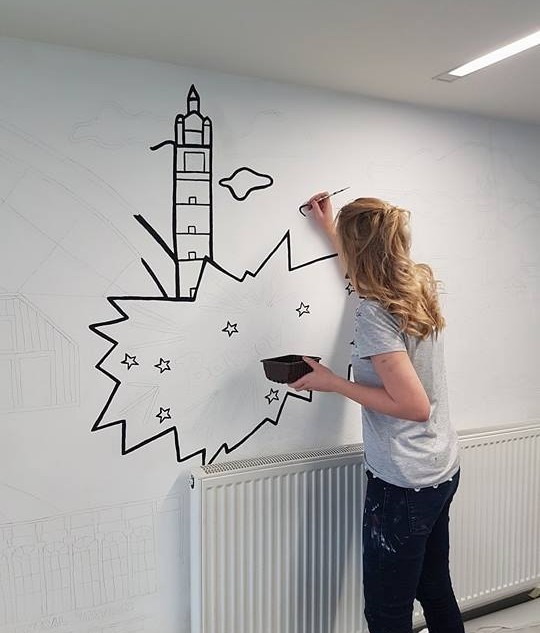 """""""Glasgow"""" Colouring Wall Mural / Royal Conservatoire of Scotland / Designed by Joanne Curtis"""