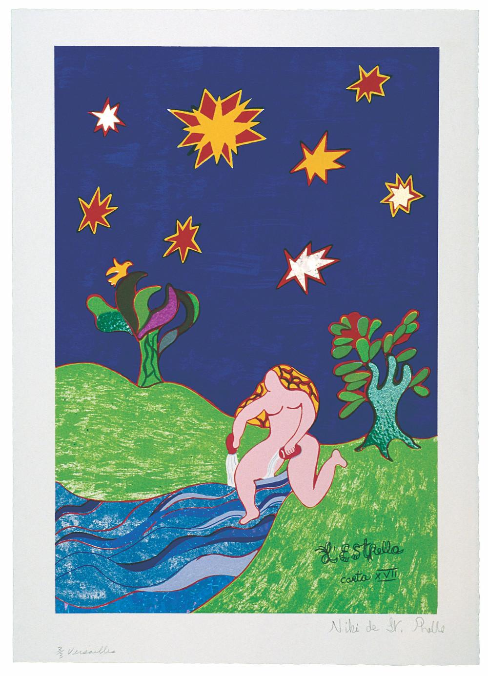 "Niki de Saint Phalle. L'Estrella Carta No. XVII (The Star). 1997. Lithograph and collage elements. 21 13/16 × 15 13/16"" (55.4 × 40.1 cm). © 2021 Niki Charitable Art Foundation"