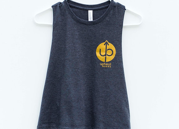 UpBeat Gold Circle Crop Tank in Charcoal Gray