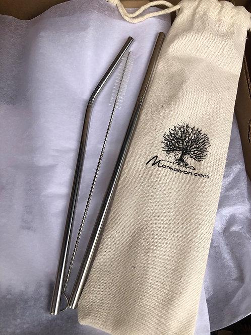 Duo de pailles en acier inoxydable avec brossette, dans une pochette