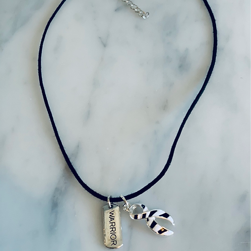 Choker with zebra ribbon charm and warrior charm
