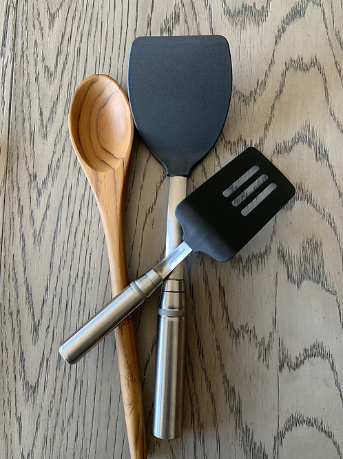 Pampered Chef's Nylon Turner, Slotted Turner and Teak Wood Serving Spoon