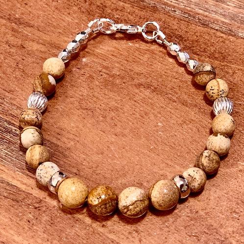 Beige jasper bead and silver bracelet