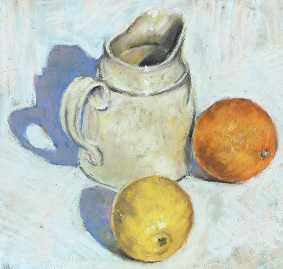 Jug with citrus fruit