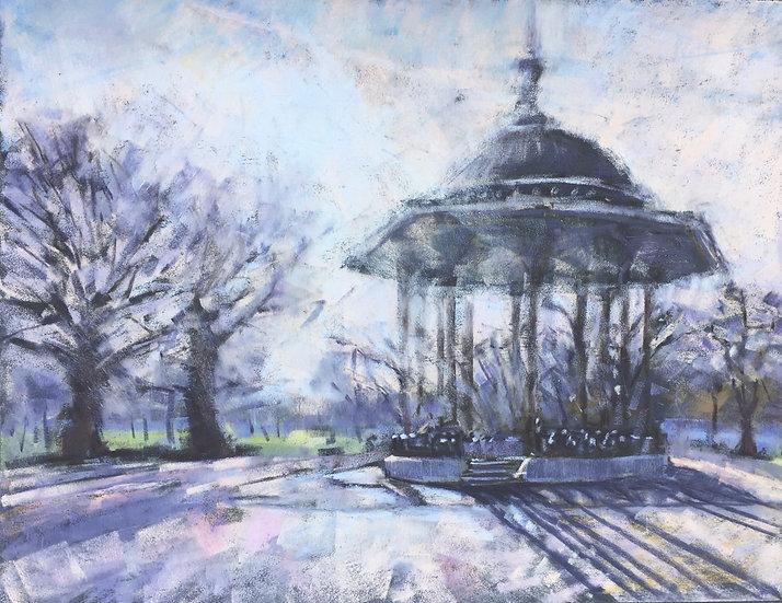 Clapham Common bandstand contre jour