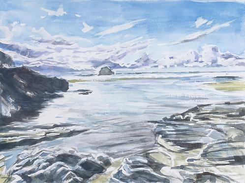 Trebarwith Strand receding tide