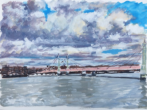 Albert Bridge under cloudy skies