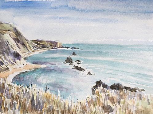 Spring sunshine over Man 'O War beach, Dorset