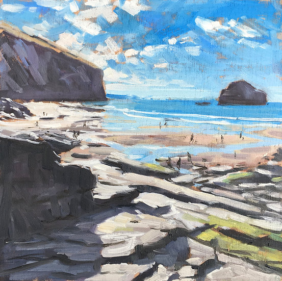 Trebarwith Strand from the rocks