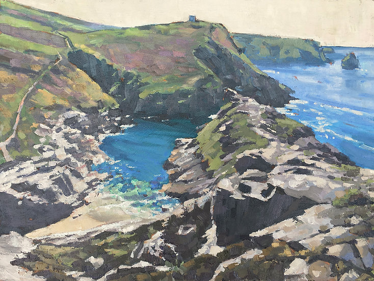 Boscastle from the flagpole, Penally Hill