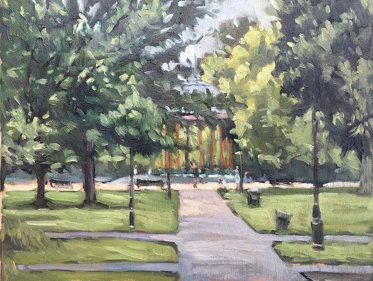 Clapham Common, rainy summer's day