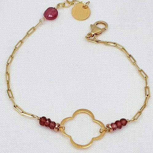 Clover bracelet - garnet