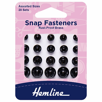 Snap Fastener - Sew on Black Assorted