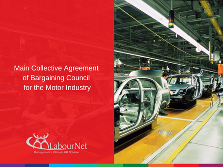 Main Collective Agreement of Bargaining Council for the Motor Industry