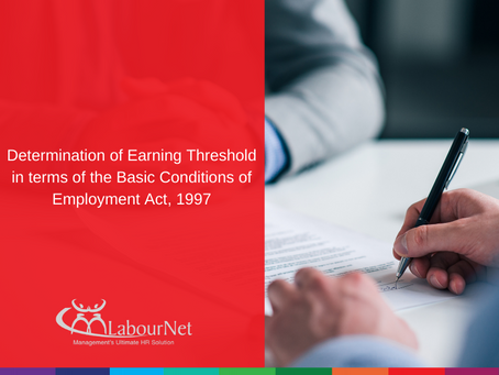 Determination of Earning Threshold in terms of the Basic Conditions of Employment Act, 1997