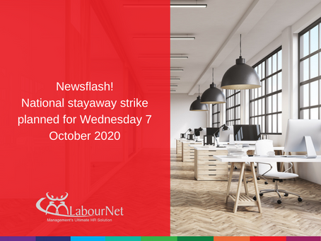 National stay-away strike planned for Wednesday 7 October 2020