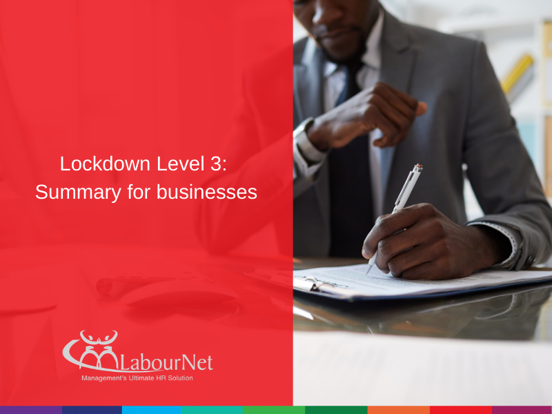 Lockdown Level 3: Summary for businesses