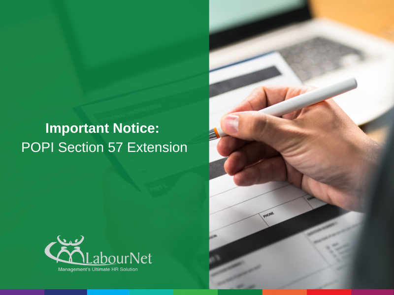 Important Notice: POPI Section 57 Extension