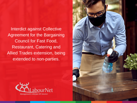 Interdict against Collective Agreement for the Bargaining Council of Fast Food