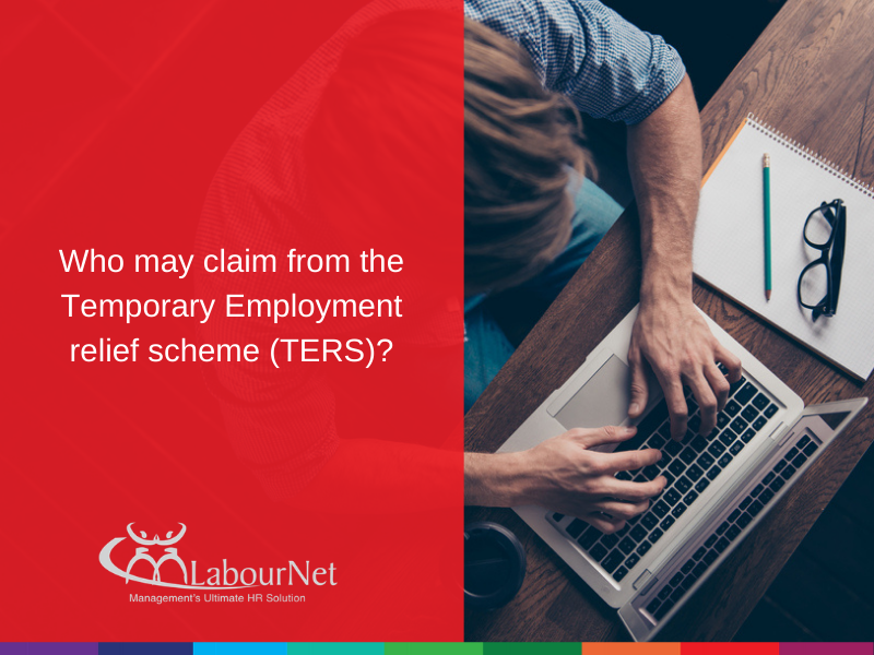 Who may claim from the Temporary Employment relief scheme (TERS)?