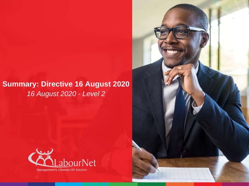 Summary: Level 2 Directive - 16 August 2020