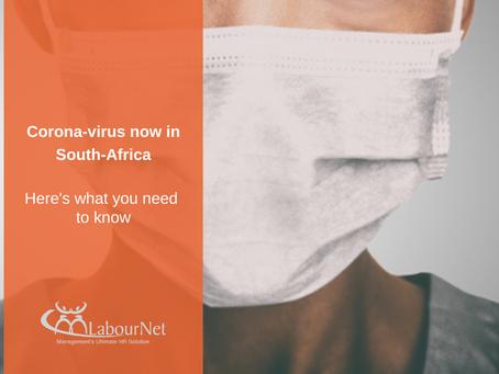 Coronavirus now in South-Africa