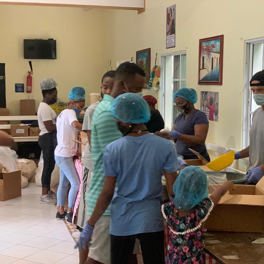 Prepping food at Casa Pastoral