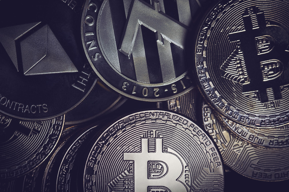 close-up of various cryptocurrency coins