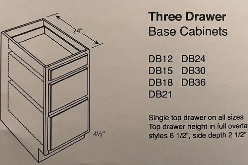 Three Drawer Base Cabinets