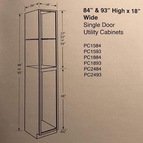 """84"""" & 93"""" High x 18"""" Wide Single Door Utility Cabinet"""