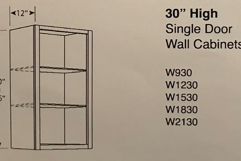 """30"""" High Single Door Wall Cabinets"""
