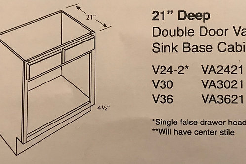"21"" Deep Double Door Vanity Sink Base"