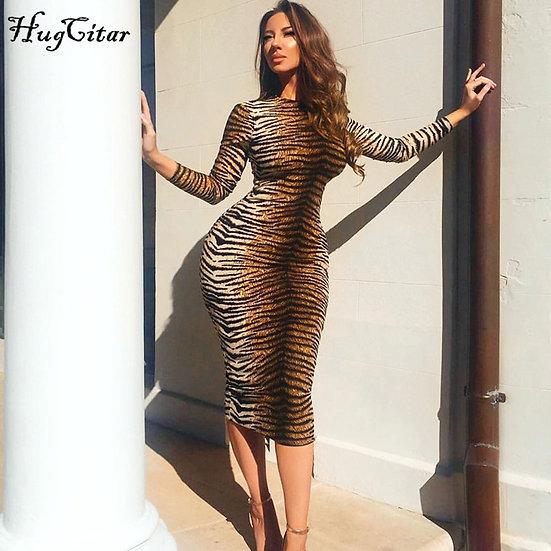 Leopard Print Long Sleeve Bodycon Sexy Dress