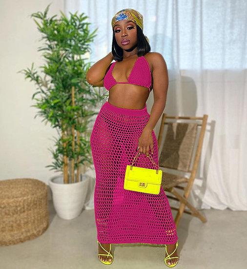 Fishnet Knitted Two Piece Set Skirt