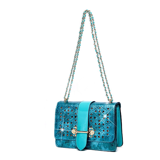 Sparkle of Hearts Clutch Womens Crossbody Bag With Sparkling Crystals Strap