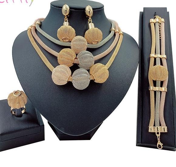 African Gold Jewelry Layered Choker