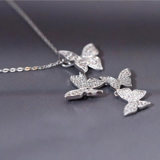 Exquisite Stamp Silver Zircon Butterfly  Necklace+Earring+Bracelet